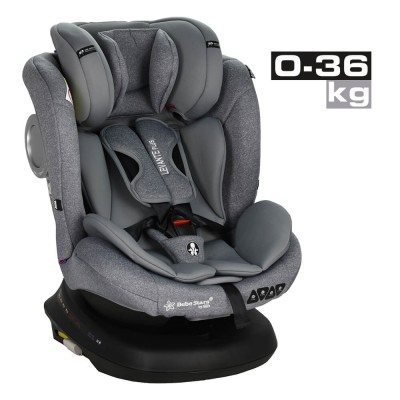Bebe Stars Κάθισμα Αυτοκινήτου Levante Plus Isofix 360° Grey 912-186