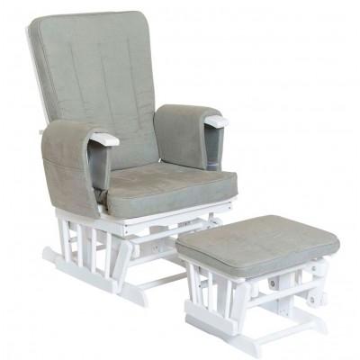 Baby Adventure Πολυθρόνα Θηλασμού με Υποπόδιο Λευκή Γκρι BR71020