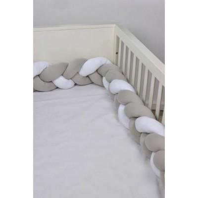Baby Oliver Πάντα Πλεξούδα Ζέρσευ 18x200cm Λευκή-Μόκα 46-6713-140