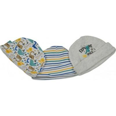Cangaroo Βρεφικά σκουφάκια Σετ 3 Τμχ Baby Hats Kay Blue