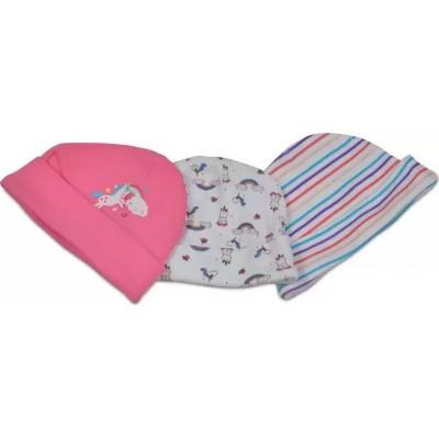 Cangaroo Βρεφικά σκουφάκια Σετ 3 Τμχ Baby Hats Kay Pink