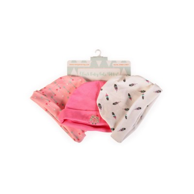 Cangaroo Βρεφικά σκουφάκια Σετ 3 Τμχ Baby Hats Tibby Pink