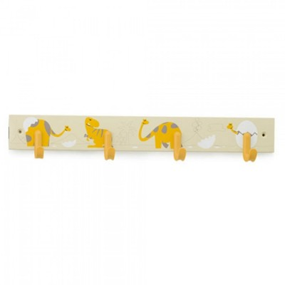 Inofix Κρεμάστρα Τοίχου 4 Θέσεων Κίτρινοι Δεινόσαυροι 3706-D