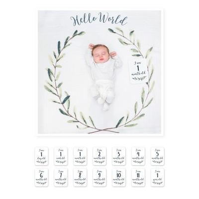 Lulujo Σετ Μουσελίνα & Κάρτες Milestone Hello World LJ592