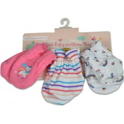 Cangaroo Βρεφικά γαντάκια Σετ 3 Τμχ Baby mittens Kay Pink