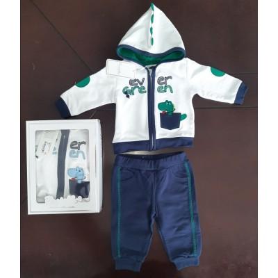 Βρεφικό Σετ Μπλούζα με Κουκούλα - Παντελόνι Ever Green CAF12Y Green