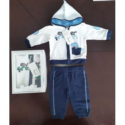 Βρεφικό Σετ Μπλούζα με Κουκούλα - Παντελόνι Ever Green CAF12Y Blue