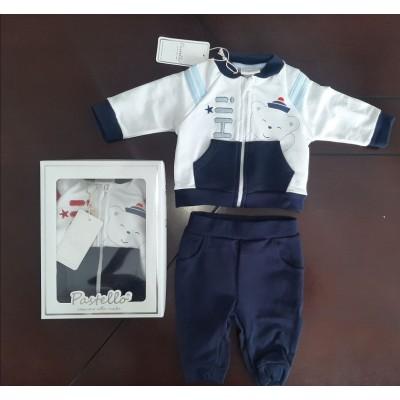 Βρεφικό Σετ Μπλούζα με Φερμουάρ - Παντελόνι Bear CAF14Y Blue
