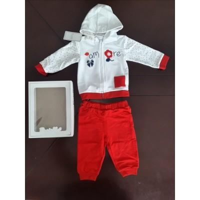 Βρεφικό Σετ Μπλούζα με Κουκούλα - Παντελόνι Amore CAF4Y Red
