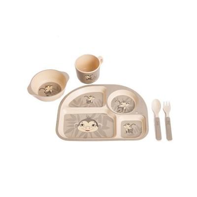 Bo Jungle Παιδικό Σερβίτσιο Φαγητού Μαϊμού B-Corn Dinner Set Monkey Grey B555010