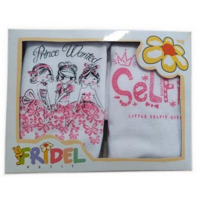 Παιδικά Φανελάκια Λευκά - Ροζ με Σχέδιο Σετ 2 Τεμάχια 405 Fridel Petit