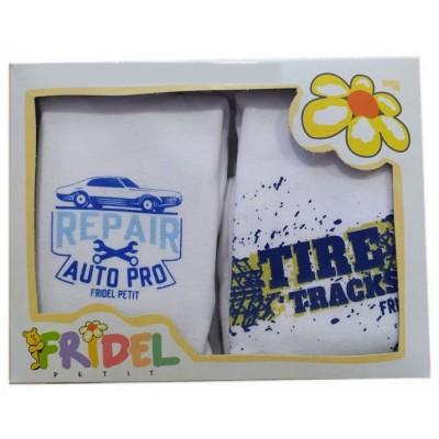 Παιδικά Φανελάκια Λευκό με Σχέδιο Σετ 2 Τεμάχια 680 Fridel Petit