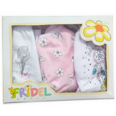 Παιδικά  Σλιπάκια Σετ 3 Τεμάχια Λευκά - Ροζ με Σχέδιο 400 Fridel Petit