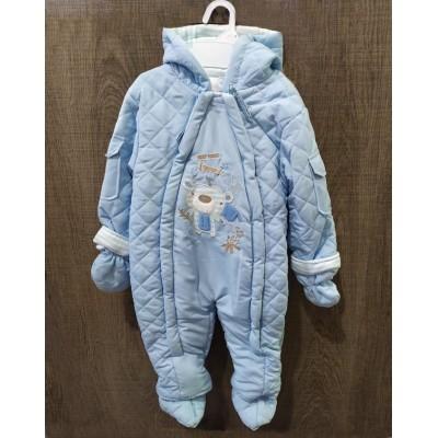 Rock a Bye Baby Φόρμα Εξόδου Mε Κουκούλα και Γαντάκια Μπλε CBB2070A