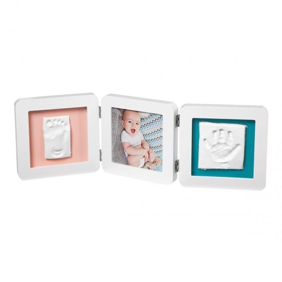 BabyArt Kορνίζα 3 Θέσεων με Αποτύπωμα My Baby Touch Double White