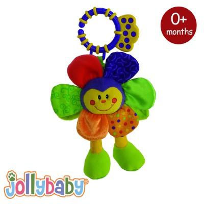Jollybaby Λούτρινο Κουδουνίστρα Λουλούδι 0m+