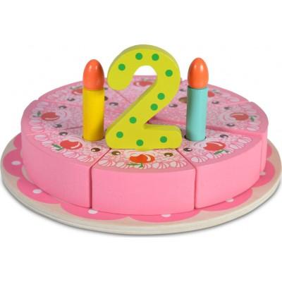 Moni Ξύλινη Εκπαιδευτική Τούρτα Γενεθλίων Happy Birthday 4223N