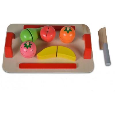 Moni Ξύλινη Εκπαιδευτική Επιφάνεια Κοπής με 5 Φρούτα και Ξύλινο Μαχαίρι 4306