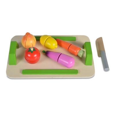 Moni Ξύλινη Εκπαιδευτική Επιφάνεια Κοπής με 5 Λαχανικά και Ξύλινο Μαχαίρι 4308