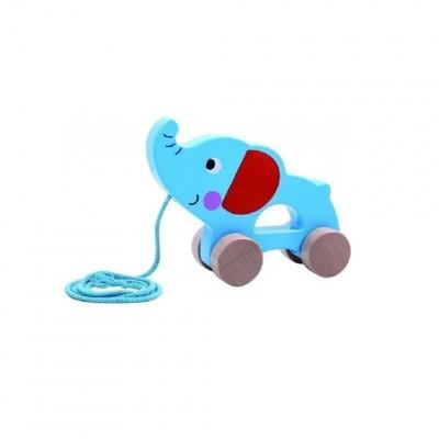 Tooky Toys Ξύλινος Συρόμενος Ελέφαντας 12μηνών+ TKC264