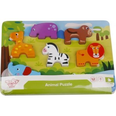 Tooky toys Ξύλινα Σφηνώματα Puzzle Ζώα της Ζούγκλας Chunky Puzzle Animals TKC394