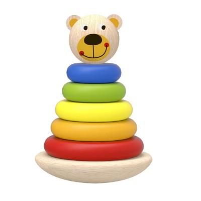 Tooky Toys Ξύλινo Αρκουδάκι Πυραμίδα με Δακτύλιους 12μηνών+ TKF004