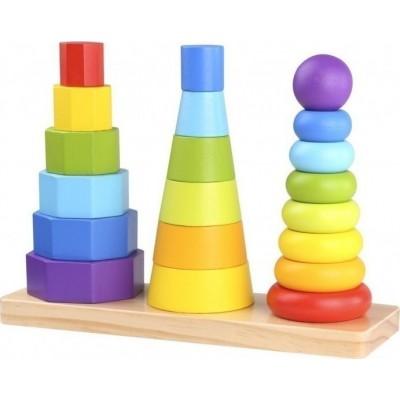 Tooky Toys Ξύλινοι Πύργοι Στοίβαξης με Γεωμετρικά Σχήματα TKF008
