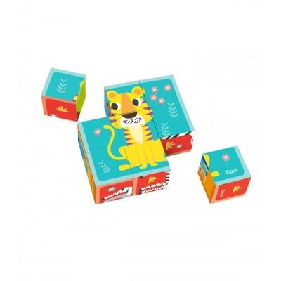 Tooky Toys Ξύλινοι Κύβοι Παζλ με Ζώα 24μηνών+ TL690