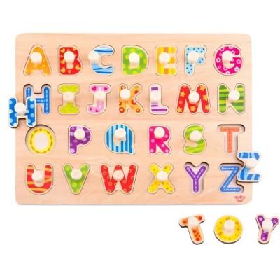 Tooky Toys Puzzle Alphabet Ξύλινο εκπαιδευτικό Παιχνίδι Δραστηριοτήτων με Γράμματα TY852