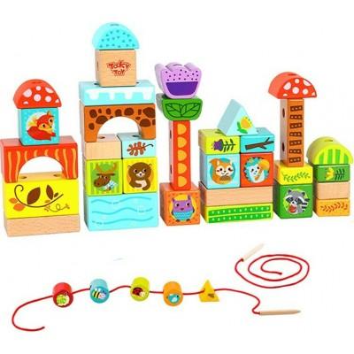 Tooky Toys Ξύλινα Παιχνίδια Δάσους Lacing block Forest TY849
