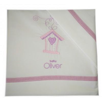 Σετ Σεντόνια Κούνιας Βαμβακερά 3 Τεμ. Baby Oliver Dream Birds Lilac 110x165