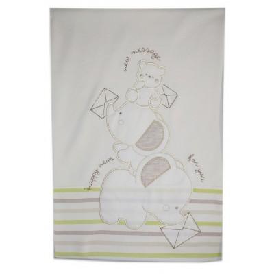 Βρεφική Κουβέρτα Αγκαλιάς Bebecor Ελεφαντάκια - Αρκουδάκι Happy News 90x85