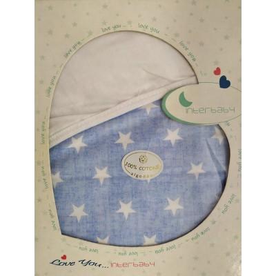 Interbaby Πάνα Αγκαλιάς Λευκό - Γαλάζιο 90087 78x78cm