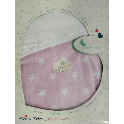 Interbaby Πάνα Αγκαλιάς Λευκό - Ροζ 90087 78x78cm