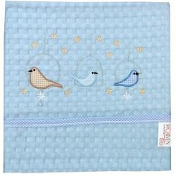 Κουβέρτα Πικέ Αγκαλιάς Little Birds Blue Morven Baby 80x110 Desing 526