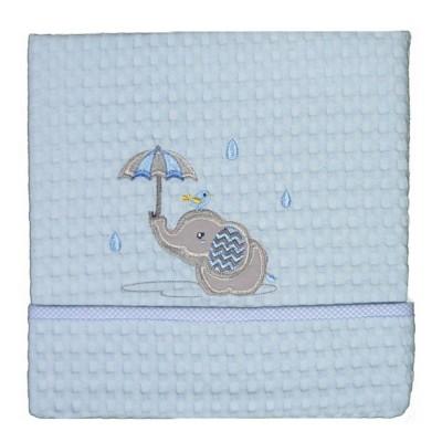 Κουβέρτα Πικέ Αγκαλιάς Elephant Blue Morven Baby 80x110 Desing Rainy 1808