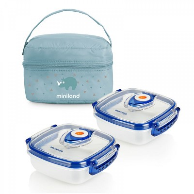 Miniland Pack 2 Go Σετ Ισοθερμική Θήκη και 2 Δοχεία Φαγητού Hermifresh 330 ml Γαλάζιο