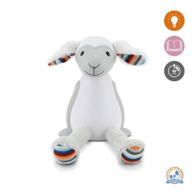 ZAZU Fin Προβατάκι παιδικό φώς νυκτός & ανάγνωσης LED, ρύθμιση νυκτός με USB grey